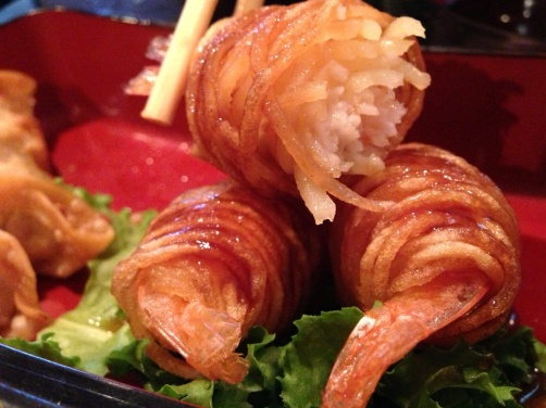Noodle wrapped shrimp - a look inside