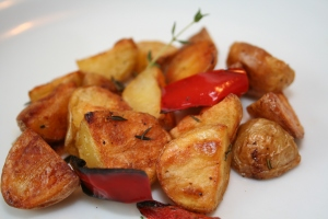 Roasted Baby Potatoes Red Peppers Finish