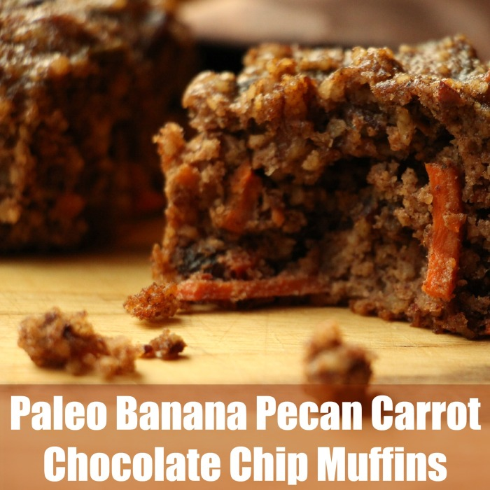 Paleo Banana Pecan Carrot Chocolate Chip Muffins